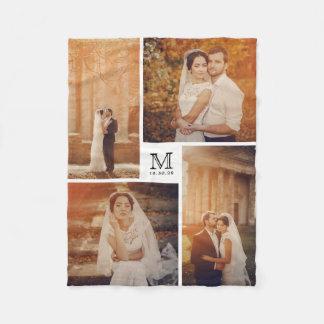 Weiße und schwarze Foto-Collagen-Hochzeit des Fleecedecke