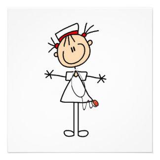 Weiße weibliche Strichmännchen-Krankenschwester 2 Einladungskarten
