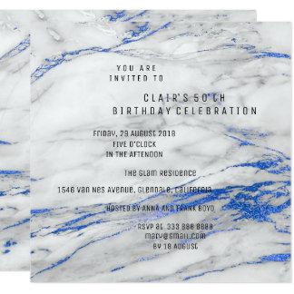 Weißer blaues Grau-Marmor-minimales Quadratische 13,3 Cm Einladungskarte