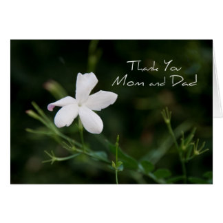 Weißer Blumen-Eltern-Hochzeits-Tag danken Ihnen zu Karte