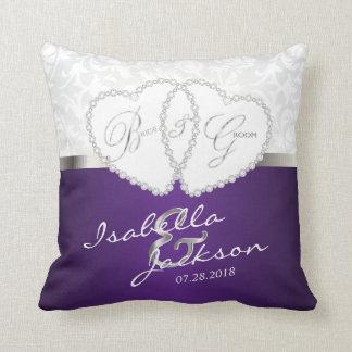 Weißer Damast u. lila Hochzeits-Entwurf | Zazzle Kissen