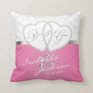 Weißer Damast u. rosa Hochzeits-Entwurf | Zazzle Zierkissen