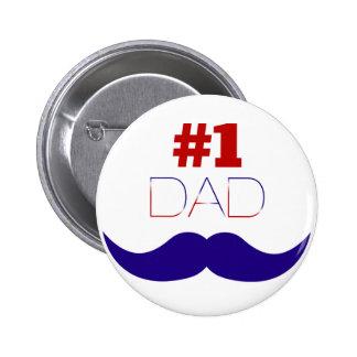 Weißer des Vati-#1 roter und blauer Schnurrbart - Runder Button 5,7 Cm