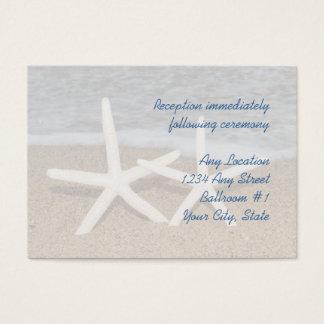 Weißer Fingerstarfish-Hochzeits-Empfangs-Karten Visitenkarte