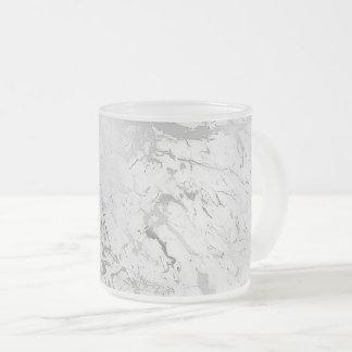 Weißer grauer silberner abstrakter MarmorierungvIp Matte Glastasse