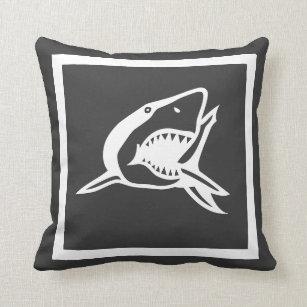 Weißer Hai Auf Charcole Graukissen Kissen