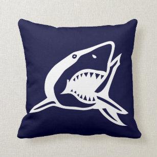 Weißer Hai Auf Navyl Blaukissen Kissen