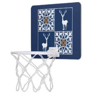 Weißer Hirsch und dekoratives Quadrat-Muster Mini Basketball Netz
