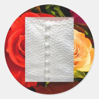 Weißer Hochzeits-Kleiderroter gelber Aufkleber