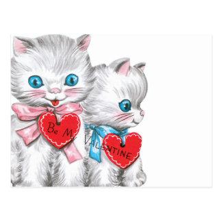 Weißer Kätzchen-Valentinsgruß Postkarte