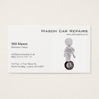 Weißer Mann, Mechaniker-Visitenkarte Visitenkarte