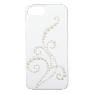 Weißer Perlen-Strudel iPhone 8/7 Hülle