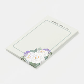 Weißer Pfingstrosen-Blumenstrauß fertigen Text Post-it Klebezettel