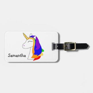 Weißer Regenbogenhaar-Einhorn-Gepäckanhänger Gepäckanhänger