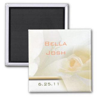 Weißer Rosen-Hochzeits-Magnet Quadratischer Magnet