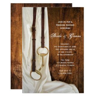 Weißer Satin-und Pferdestückchen-Land-Polterabend 12,7 X 17,8 Cm Einladungskarte
