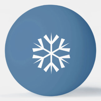 Weißer Schneeflocke-Entwurf auf Blau Tischtennis Ball