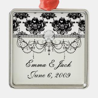 weißer schwarzer Rose Romancedamast Silbernes Ornament