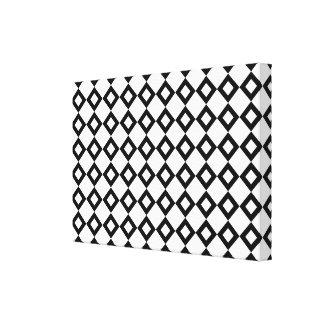 Weißer und schwarzer Diamant-Muster Leinwanddruck