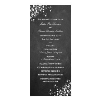 Weißer Wirbel auf Tafel-Hochzeits-Programm Individuelle Werbe Karte