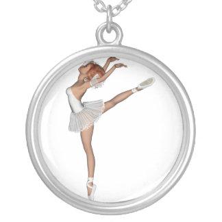 Weißes Ballerina-Andenken des Ballettröckchen-3D Halskette Mit Rundem Anhänger