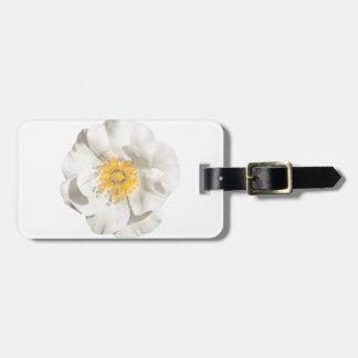 Weißes Blumen-Foto Kofferanhänger