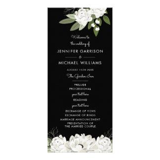 Weißes Blumenhochzeitsprigs-Programm Werbekarte