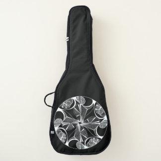 Weißes Drehbeschleunigungs-Grafikdesign auf Gitarrentasche