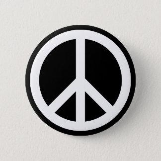 Weißes Friedenssymbol Runder Button 5,7 Cm