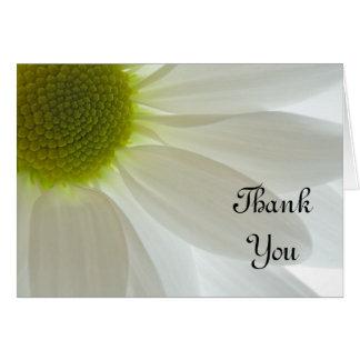 Weißes Gänseblümchen-Blumenblätter danken Ihnen Mitteilungskarte