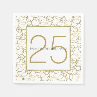 Weißes Goldbezaubernder stilvoller Kreis-Jahrestag Papierserviette