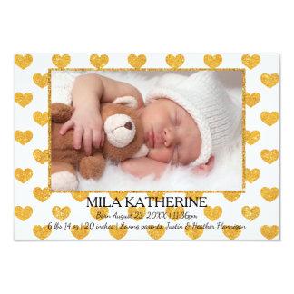 Weißes GoldGlitter-Herzen _3x5 Geburts-Mitteilung Karte