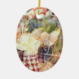 Weißes Kaninchen -- Surreal Alice im Wunderland Ovales Keramik Ornament