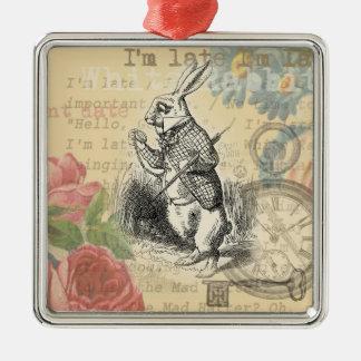 Weißes Kaninchen von der Alicen im Wunderland Quadratisches Silberfarbenes Ornament