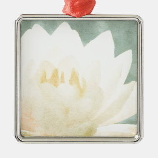 Weißes Lotus Quadratisches Silberfarbenes Ornament