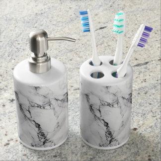 Weißes Marmorzahnbürste-Halter-Seifen-Zufuhr-Set Zahnbürstenhalter