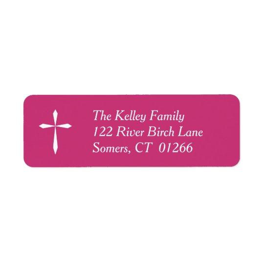 Weißes queres religiöses Adressen-Etikett, Pink