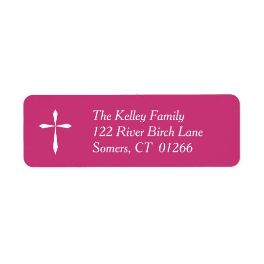 Weißes queres religiöses Adressen-Etikett, Pink Rücksendeetikett