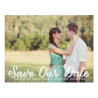 Weißes rustikales Skript-Foto retten unsere Postkarten
