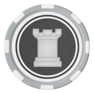 Weißes Turm-Schach-Stück Poker Chips Set