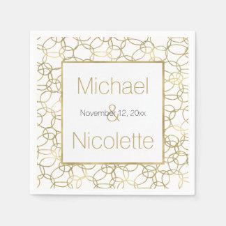 Weißes Wedding Goldbezaubernde stilvolle Kreise Papierserviette