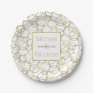 Weißes Wedding Goldbezaubernde stilvolle Kreise Pappteller