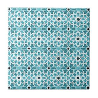 Weißglühendes blaues marokkanisches Muster Kleine Quadratische Fliese
