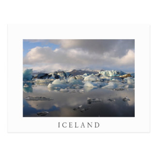 Weißpostkarte des Jokulsarlon Gletschersees, Postkarte