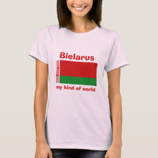 Weißrussland-Flagge + Karte + Text-T - Shirt