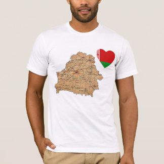 Weißrussland-Flaggen-Herz und Karten-T - Shirt