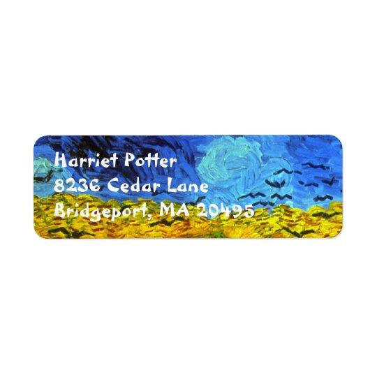 Weizen-Feld mit Krähen-Van- Goghschöner Kunst Kleiner Adressaufkleber