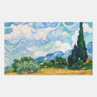 Weizen-Feld mit Zypressen durch Vincent van Gogh Rechteckiger Aufkleber