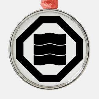 Welle-förmige Kanjicharaktere für drei in Oshiki Rundes Silberfarbenes Ornament