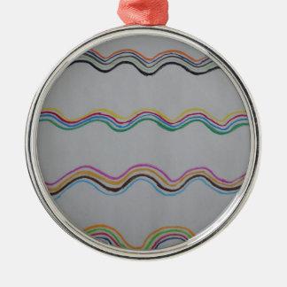 Welle Rundes Silberfarbenes Ornament